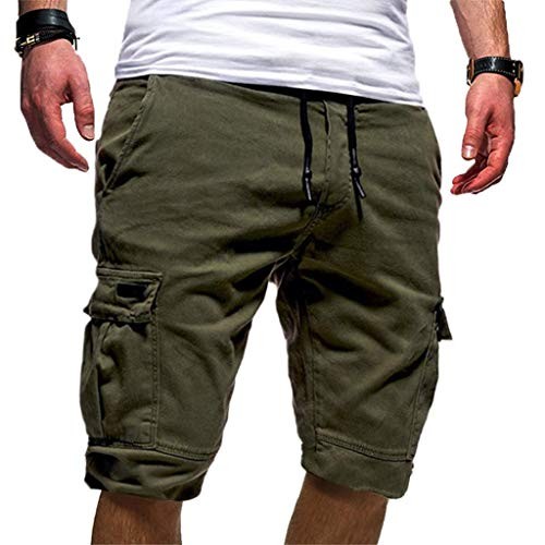 Chino Kurze Hose Sommer Bermuda Sport Jogging Training Stretch Shorts Fitness Vintage Regular Fit Sweatpants Polyester Qmber Lässige einfarbige Gurttasche Schwarz Weiss(AG,L) ()