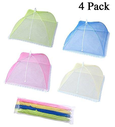 Cymax Pop-Up Große Faltbar Netzschutz Speiseschirm Lebensmittel Abdeckung Zelt für Draußen,Picknicks & Zuhause, 43 cm (4 Stück-Blau,Pink,Gelb,Grün)