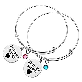 MO SI YI Couples Bracelets YOU ARE MY PERSON 2 PCS Matching Couple Bracelets, Expandable Titanium Stainless Steel Wire Bangle Bracelet with Elegant Charms, Perfect