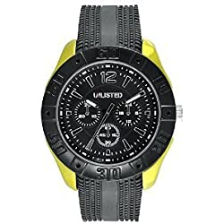 Unlisted Three-Hand Black Silicone Men's watch #UL1319
