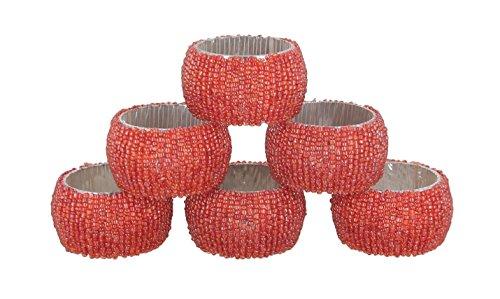 shalinindia perles ronds de serviette - set de 6 rings - anneaux de serviette rouge set - diamètre-1.5 pouces
