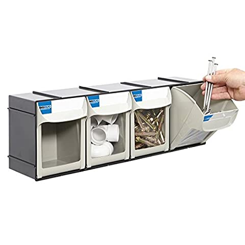 Tool Parts Bins Stack & Wall Mounted Tilt Bin Compartment Garage Storage (4 Bin Unit)