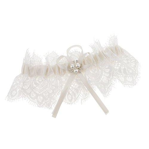 Baoblaze Romantik Weiß Strumpfband für die Braut, Stilvoller Garter mit Spitze, Kleinem Perlen...