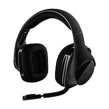 Logitech G533 Wireless Gaming Headset, 7.1 Surround Sound, DTS Headphone:X, 40 mm Pro-G Drivers, Noise-Cancelling Mic, 2.4 GHz Wireless, Lightweight, 15 h Battery Life, PC/Mac - Black