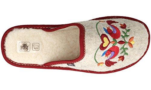 RBJ Pantofole da Uomo In Feltro Traspiranti Naturalmente Isolano I Vostri Piedi Tenendoli Caldi Asciutti E Comodi Per Una Sensazione Di Naturalezza E Comfort Rosso 910