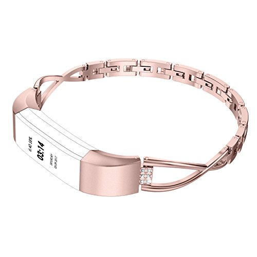 Wearlizer Compatible Replacement Accessories Bracelet - Wearlizer Compatible Fitbit Alta Bands Small Silver Rose Gold Fitbit Alta hr Women Metal Replacement Bands Accessories Straps Bracelet Bangle Wrist Bands Small/Large