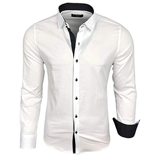 Herren Kontrast Basic Hemden Business Freizeit Langarm Anzug Hochzeit Hemd R-44, Farbe:Weiß - Schwarz;Größen:L