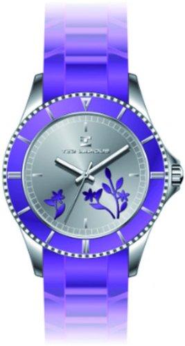 Ted Lapidus A0528RBPL - Reloj analógico de cuarzo para mujer con correa de caucho, color morado