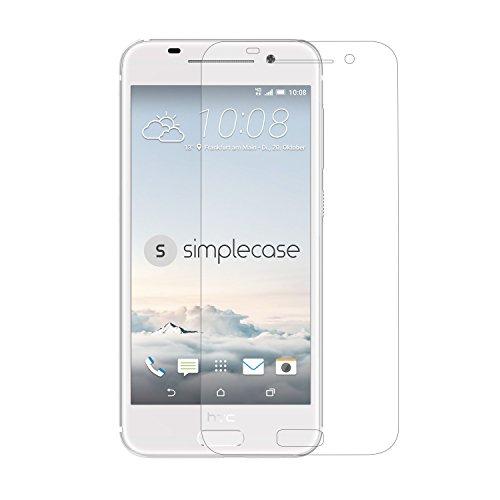 Simplecase Panzerglas passend zu HTC One A9S , Premium Bildschirmschutz , Schutz durch Extra Härtegrad 9H , Case Friendly , Echtglas / Verb&glas / Panzerglasfolie , Transparent - 1 Stück