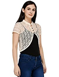 49a6bf4549a60 VR Designers Premium Quality Stylish   Fashionable Western Wear Short  Sleeves Casual Cream Sheer Shrug for