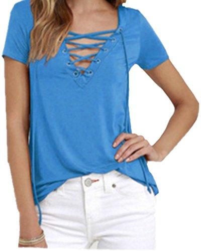 SHUNLIU Damen-T-Shirt/Oberteil mit lässiger Schnürung am V-Ausschnitt  Azurblau