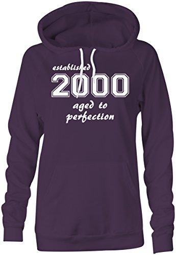 Established 2000 aged to perfection �?Hoodie Kapuzen-Pullover Frauen-Damen �?hochwertig bedruckt mit lustigem Spruch �?Die perfekte Geschenk-Idee (08) lila
