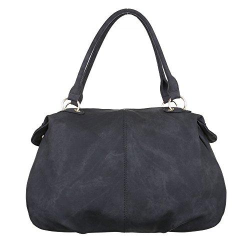 Damen Tasche, Schultertasche, Große Handtasche In Used Optik, Kunstleder, TA-A-676 Schwarz