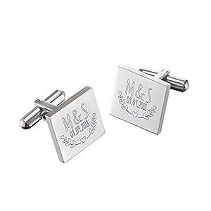 Gravado – Manschettenknöpfe mit Gravur – Hochzeit – Personalisiert – Farbe Silber – mit Geschenkbox – Schmuck für Herren