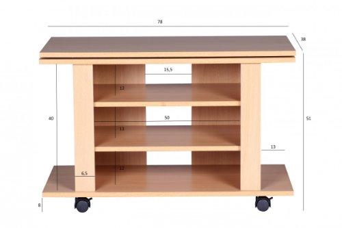 finebuy fernsehschrank drehbar auf rollen tv bank 75 x 38 x 50 cm mit drehteller f r fernseher. Black Bedroom Furniture Sets. Home Design Ideas