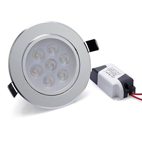 Anten 7W Ultra Flach LED Einbaustrahler Einbauleuchte Deckenleuchte Warmweiß 2800-3200K 560 lumen AC100-240V Rund Einbauspot mit Trafo