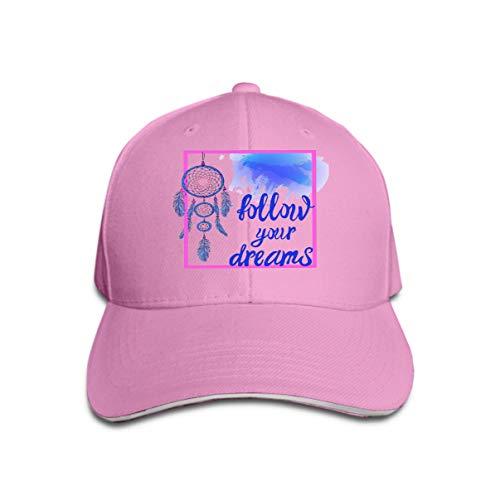 Comfortable Baseball Caps Follow Your Dreams Words Hand Drawn Dream Catcher Paint Splash Backdrop pink Blue Colors Follow Your Dreams Elements