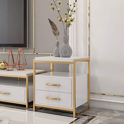 LYN Beistelltische, Schmiedeeisen Massivholz quadratischen Beistelltisch, einfache Lagerung Schlafzimmer Nachttisch Wohnzimmer Sofa Tisch, Schließfach mit Schublade (Size : 50 * 45 * 60cm) -