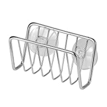 iDesign Rondo Sink Storage Basket, Suction Cup Sink Caddy for Sponges and Soap, Made from Stainless Steel, Chrome Coloured