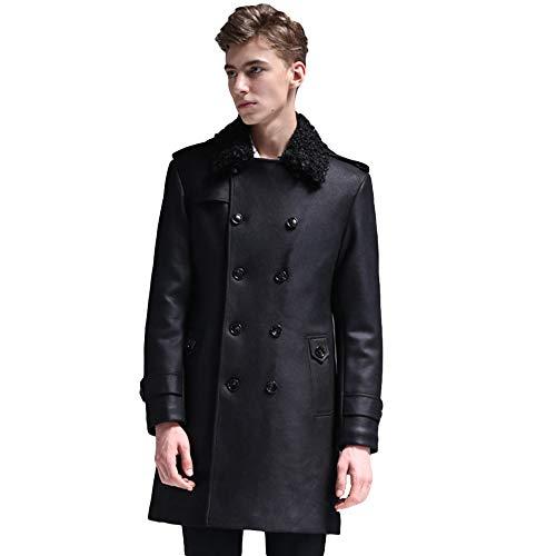 MERRYHE Pelzkragen Trenchcoats Für Herren Klassische Suedette Jacken Mode Mantel Zweireiher Great Coat Slim Fit Oberbekleidung,Black-3XL(Bust/120cm)