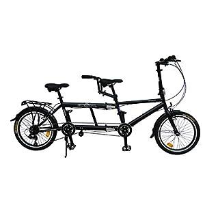 "41ITZKmx4HL. SS300  - ECOSMO 20"" New Folding City Tandem Bicycle Bike 7SP - 20TF01BL"