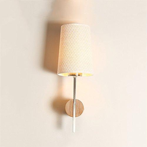 LZDHY Eclairage mural Lampe de mur en bois moderne simple Caractéristique Tissu Lampe de protection E27 Soie Chambre Balcon Lampes de l'allée Voltage applicable 110 ~ 240V Lumière murale élégante ( Size : Style A )