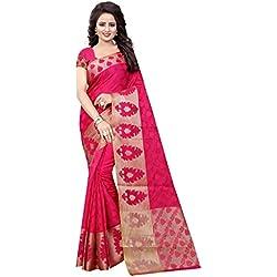 Craftsvilla sarees womens Gajari Poly Cotton Jacquard Party & Festival Wear Saree with Blouse Piece (Red)