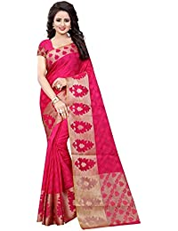 Craftsvilla Womens Gajari Poly Cotton Jacquard Party & Festival Wear Saree With Blouse Piece