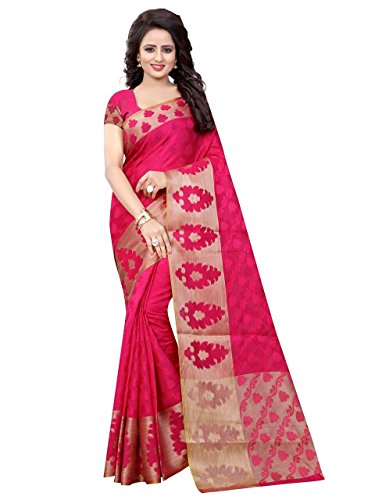 Craftsvilla Womens Poly Cotton Jacquard Banarasi Saree with Blouse Piece (Dark Pink)