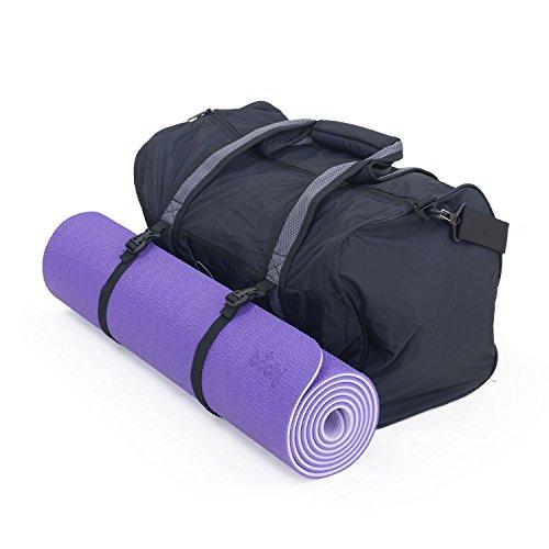 Yogamatte Lotus Pro (lila) + Yoga & Sports Bag (schwarz-grau), große Sporttasche mit Mattengurten im Set mit TPE Yogamatte (6mm)