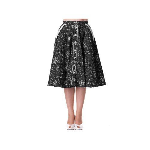 Hell Bunny Rock BANDANA 50'S Skirt black Schwarz XS
