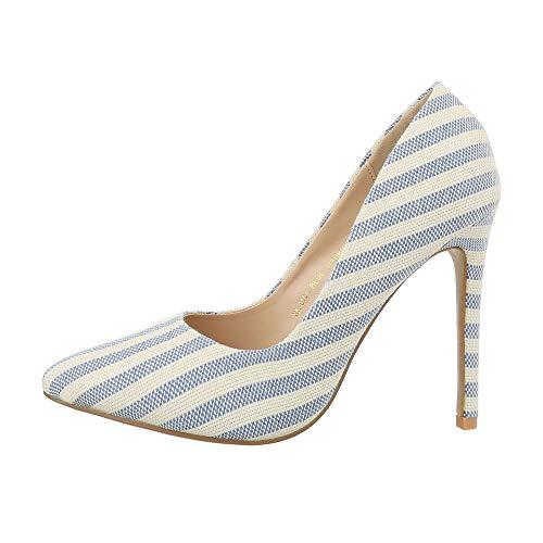 Ital-Design Damenschuhe Pumps High Heel Pumps Canvas Beige Blau Gr. 40 -