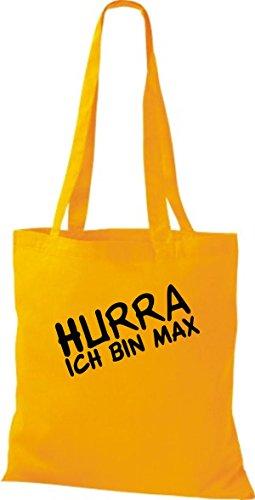 Shirtstown pochette avec inscription'hurra ich bin ... plusieurs couleurs Jaune - goldgelb