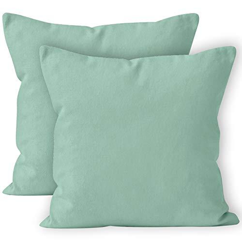 Encasa homes federe 2 pezzi (50x50 cm) - menta verde - tela in cotone morbido copricuscino rettangolare colorato, per la decorazione domestica, soggiorno, camera, da letto, divano, lavabile