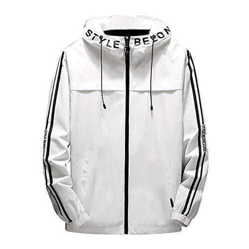 Zip Kapuzenjacke Herren für Kapuzenpullover für Herren, Holeider Sport Sweatjacke Windbreaker Herbst Winter Streifen Hoodie für Männer Casual Mode Streetwear Mantel