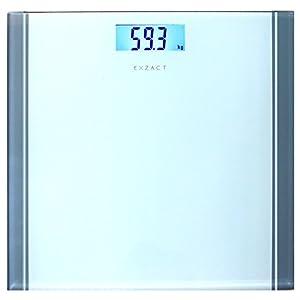 Exzact Báscula Corporal Electrónica/Báscula de Baño Digital/Escala Personal – 180kg – Exhibición del LCD de la contraluz (Blanco)