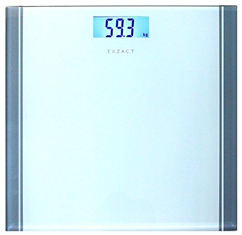 Exzact Báscula Corporal Electrónica/Báscula de Baño Digital/Escala Personal - 180kg - Exhibición del LCD de la contraluz (Blanco)