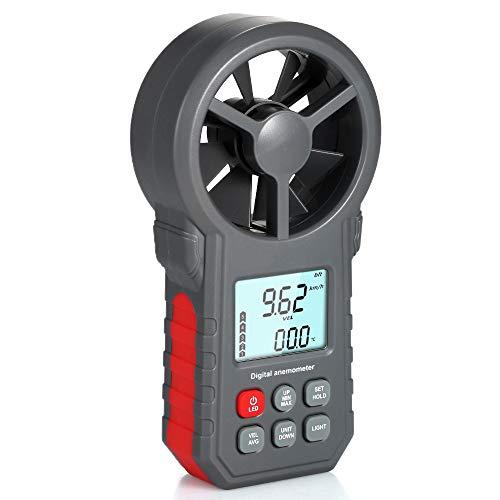 Professionelle LCD Digital Anemometer Windgeschwindigkeitsmesser Windgeschwindigkeit/Luftgeschwindigkeit/Lufttemperatur Test Tool Windgeschwindigkeitsmesser mit Taschenlampe