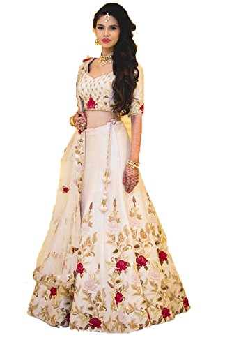 Monika fashion designer embroidered lehgha choli white color for woman free size