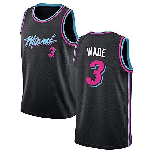 SEYE1° Miami Heat # 3, Wade 2019 NBA-Trikot, Basketballtrikot Kinder, Basketball-Sweatshirt Schwarz