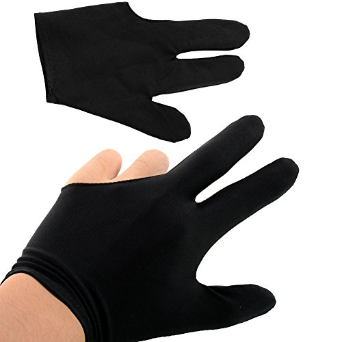 Forfar Durable elastisches Nylon 3 Finger Glove für Billiard Pool Snooker Tisch Cue Shooter Schwarz (Snooker-tisch)