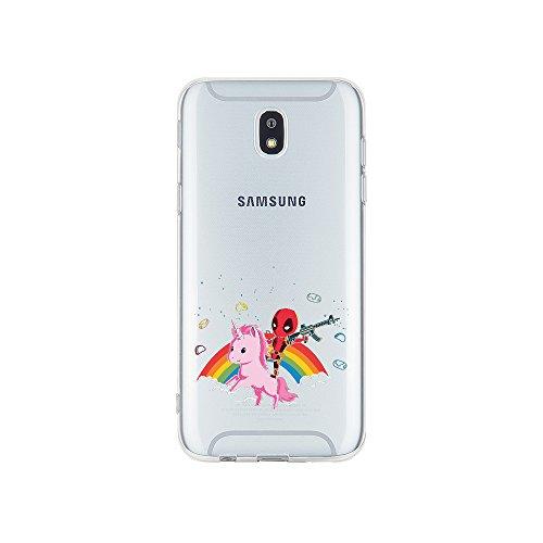 licaso Samsung Galaxy J3 (2017) Handyhülle TPU mit Superhero Riding Unicorn Print Motiv - Transparent Cover Schutz Hülle Superheld Einhorn Pink Aufdruck Druck