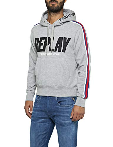 Replay Herren M3797 .000.21842 Sweatshirt, Grau (Light Grey Melange. M05), Medium (Herstellergröße: M) -