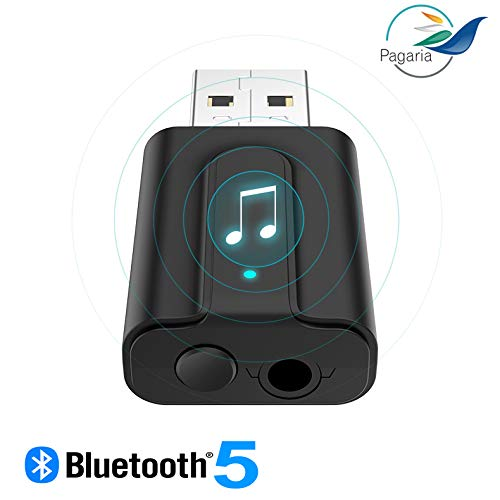 Pagaria Bluetooth Transmitter Receiver 2 in 1 Bluetooth 5.0 Transmitter Receiver 3.5mm Wireless Stereo Audio Adapter