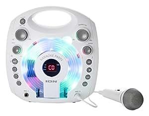 ION Audio Karaoke Party Impianto Karaoke Portatile con Luci LED Colorate, Altoparlanti Integrati e Microfono, Bianco