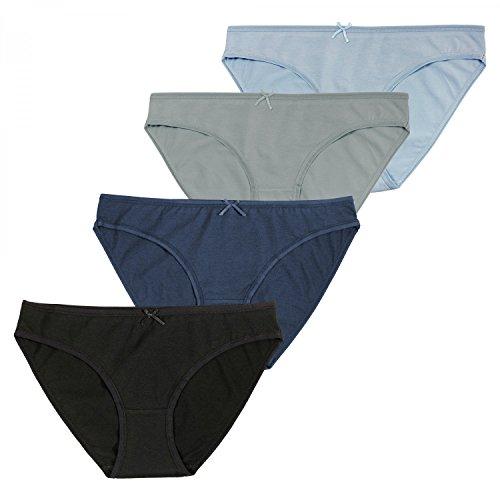 Fabio Farini 4er Multi Pack Damen baumwoll Bikini-Slips Pantys mit Schleifchen