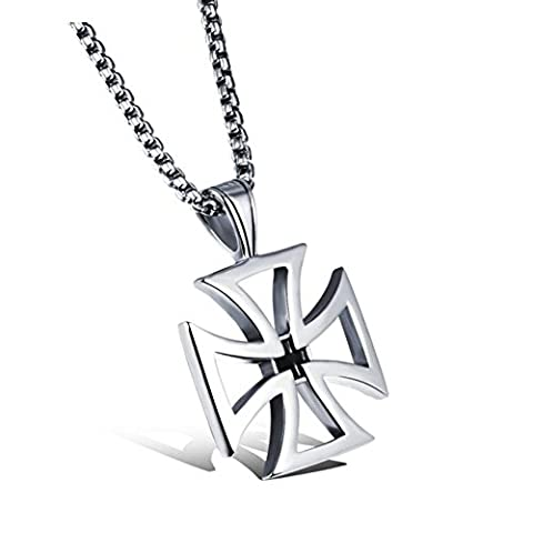 OBSEDE Modern Hollow Cross Pendant Steel Cable Chain Necklace for Men