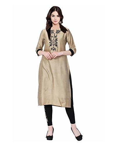 Indistar Embroidered Silk Party wear Kurta/Kurti for Womens_Gold_X-Large_SE 01-IW-XL