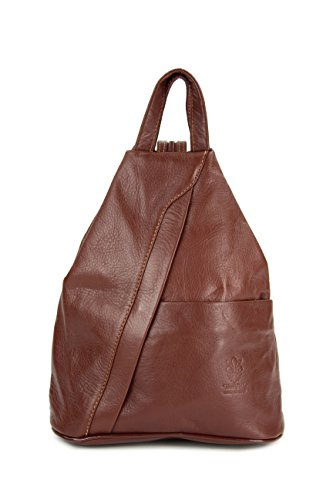 Belli 'City Backpack leichte ital. Leder Rucksack Handtasche - Farbauswahl - 29x32x11 cm (B x H x T) (Maronenbraun)