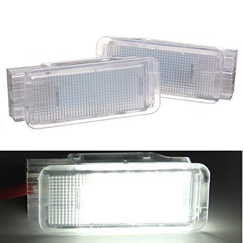 VIGORFLYRUN PARTS LTD 2pcs Auto LED Fußraum Innenraum Kofferraum Kofferraumleuchte Beleuchtung für P-eugeot 1007 206 207 306 307 3008 406 407 5008, 12V Bright Weiß Lampen Leuchtmittel